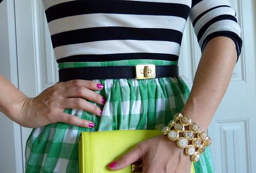 black stripes + green gingham