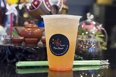 Litchi and grapefruit juice soda with aloe vera