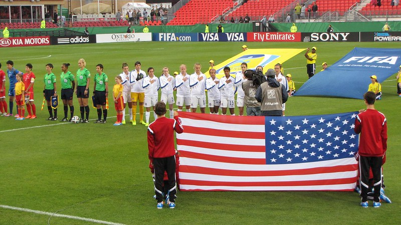 North Korea vs USA, U-20 Women's World Cup - American anthem time