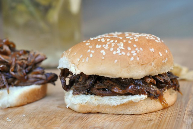 Slow Cooker Pulled Pork with Bourbon-Peach Barbecue Sauce 3