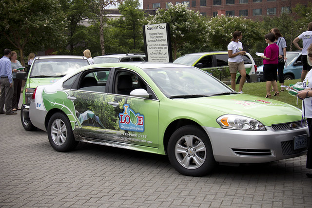 Virginia State Parks' wrapped vehicles at the Virginia Tourism offices