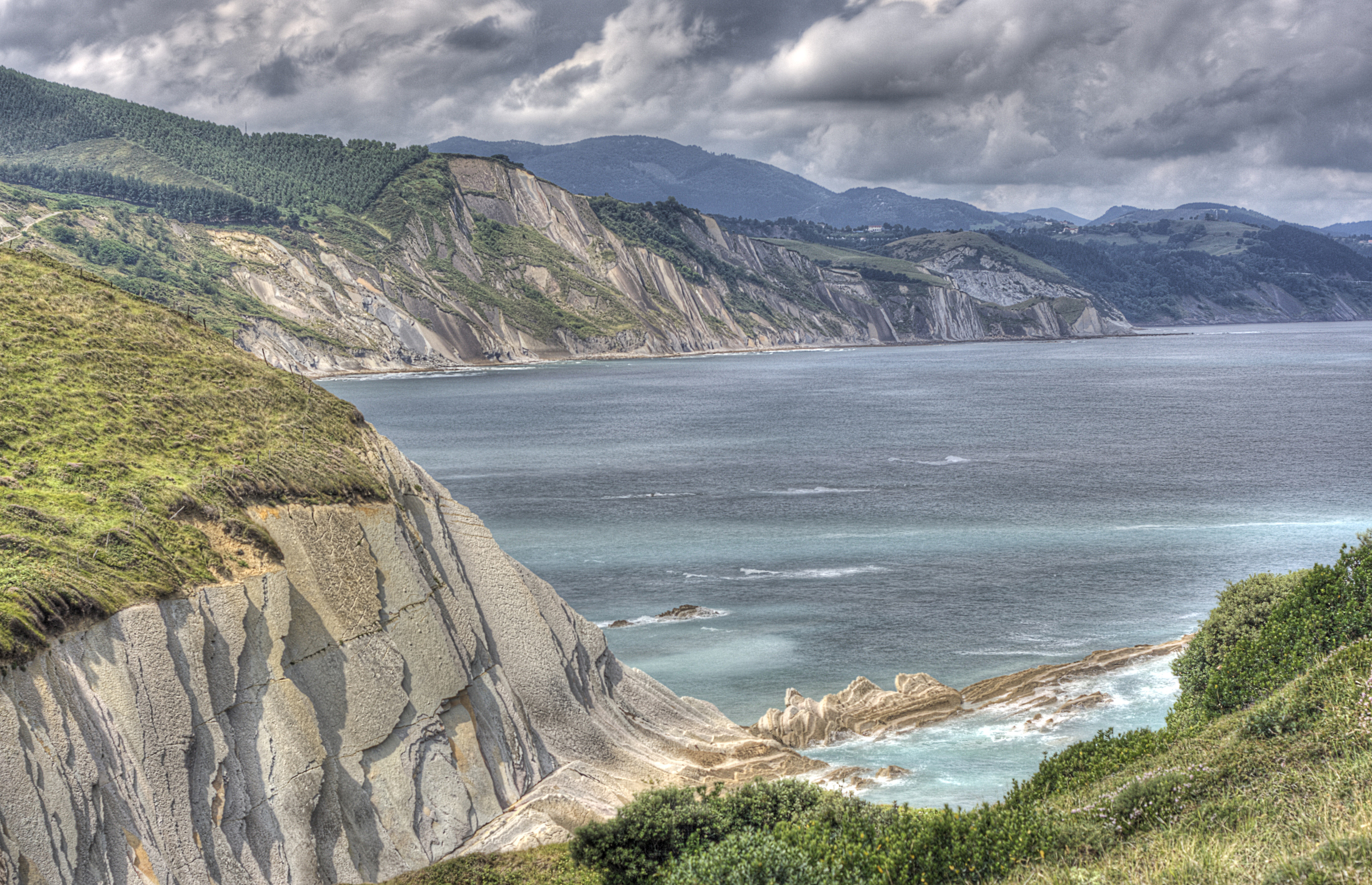 Bidegoian Spain  city images : sea costa rock coast geology karst basque sedimentary hdr euskal ...
