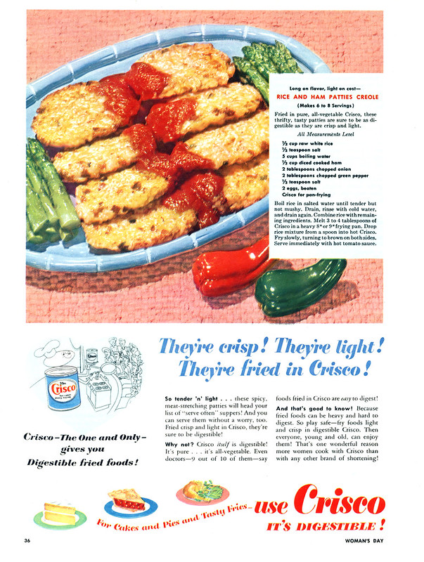 Crisco - Rice and Ham Patties Creole - published in Woman's Day - date unknown