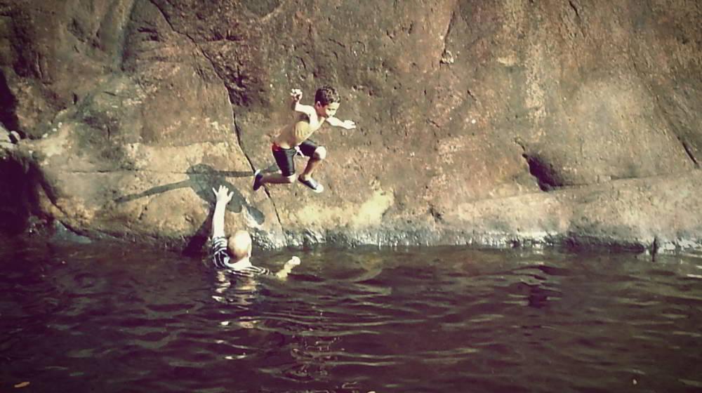 Jumping in at Klong Plu waterfall, Koh Chang Thailand