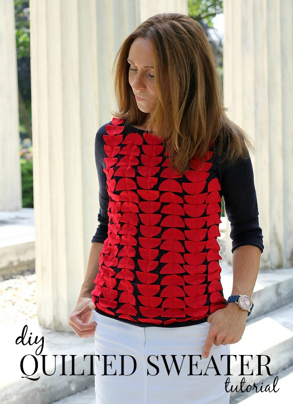 how to make a diy quilted sweater via Kristina J blog