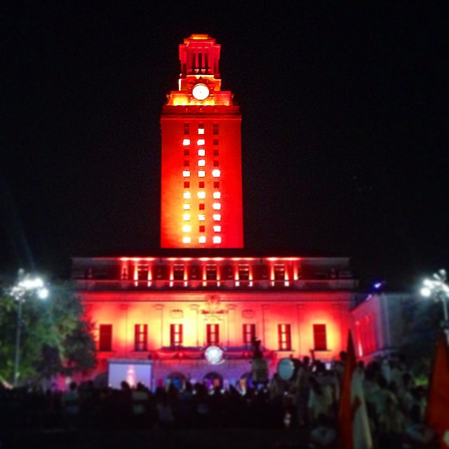 Tower lit up for the class of 2018! #gonetotx