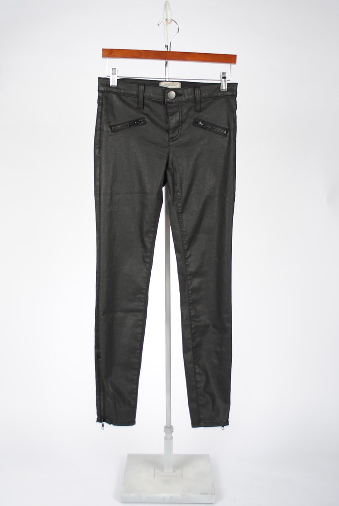 Black Coated Denim Soho Zip Stiletto