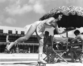 Roller skating waitress at Roney Plaza - Miami Beach