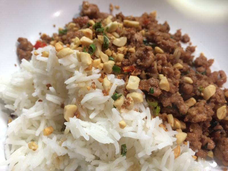 Thai Basil Fried Pork : Serve on a bed of rice topped with hot nuts