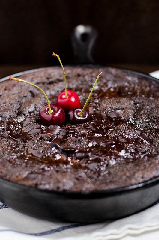 Chocolate Cherry Pudding Cake (Gluten Free) | cookingalamel.com