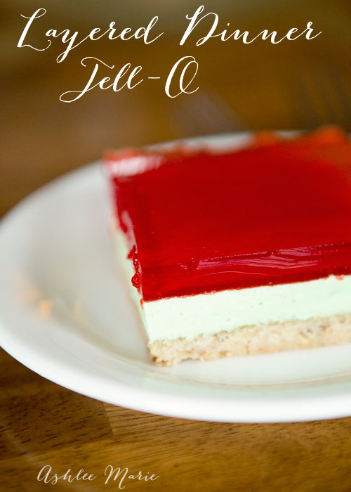 a layered dinner jello with a crust. You can use any jello flavor to create different colored layers for the holidays