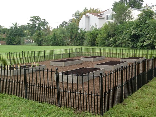 The garden is fenced with six raised beds that will be used by the school garden club to grow food and to create meaningful learning experiences for the students. Photo by Annie Ceccarini, USDA.