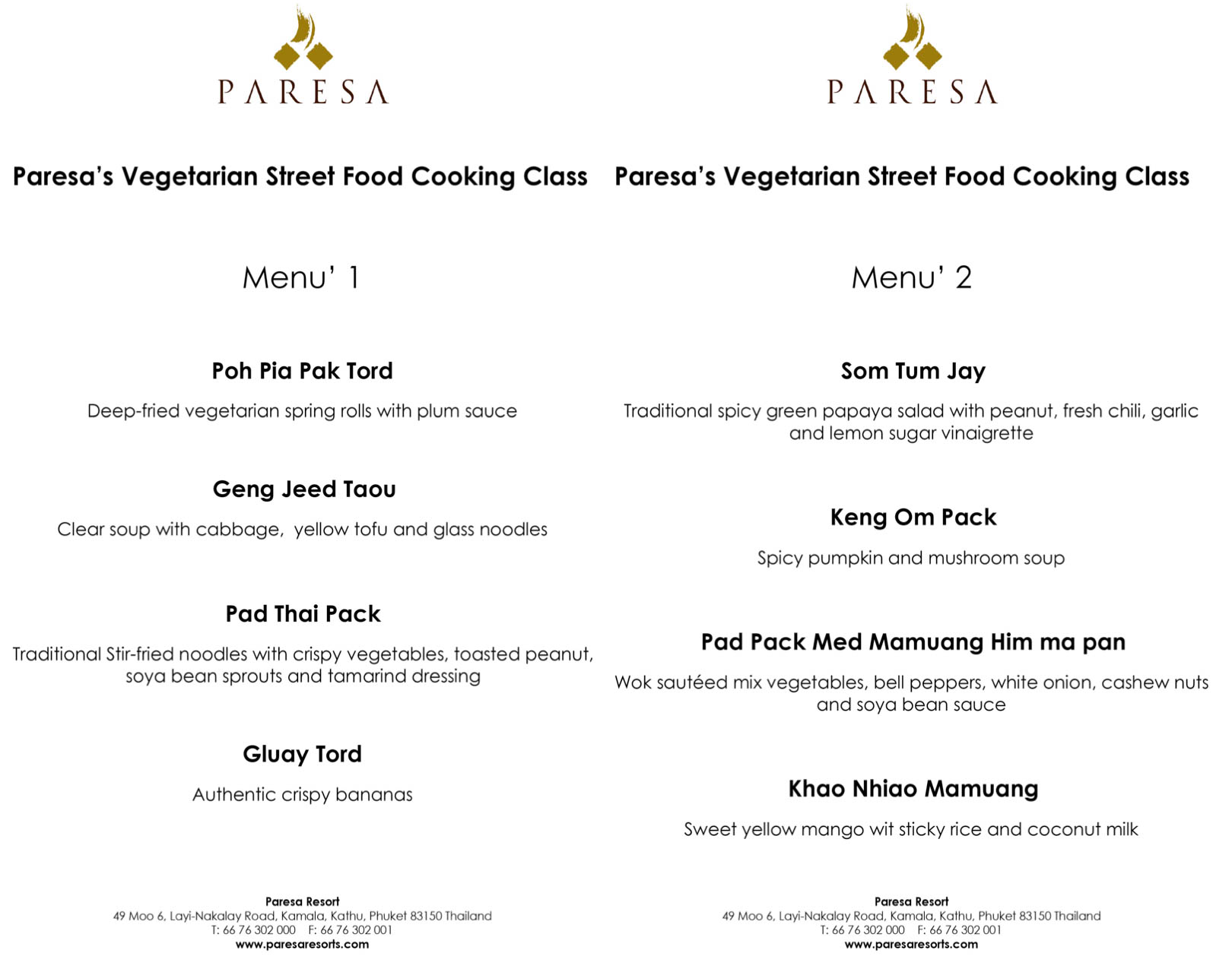 Paresa Resort Vegetarian Cooking Class Menu