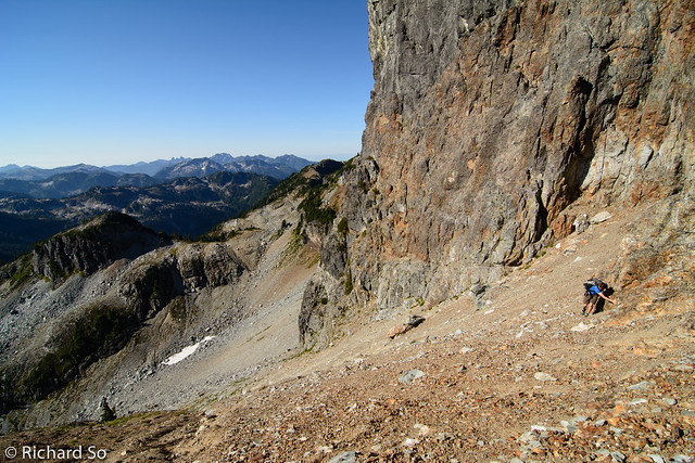 Steep scree slope below the south face Ledge Mountain