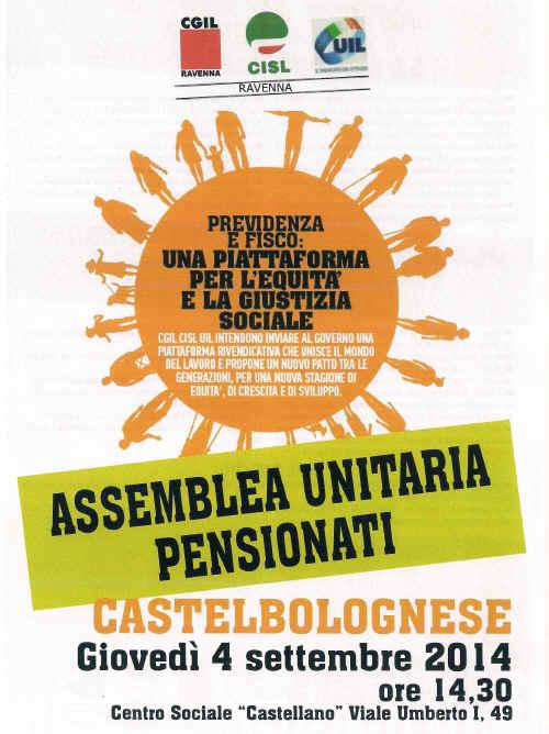 Giovedì 4 Settembre assemblea unitaria dei pensionati Cgil-Cisl-Uil