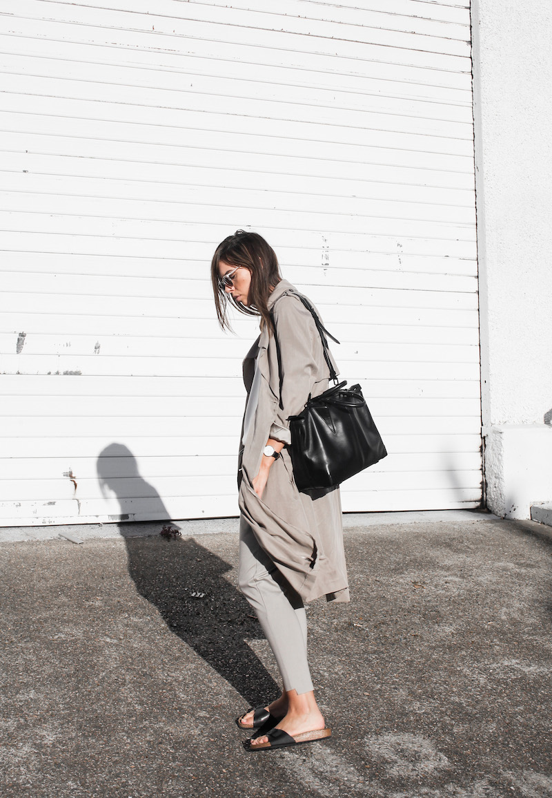 modern legacy fashion blog Australia fall Zara silky trench coat street style neutrals Bassike Birkenstock Madrid Alexander Wang bag (2 of 14)