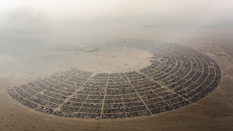 172 Aerial View Burning Man 2014 During Embrace Burn