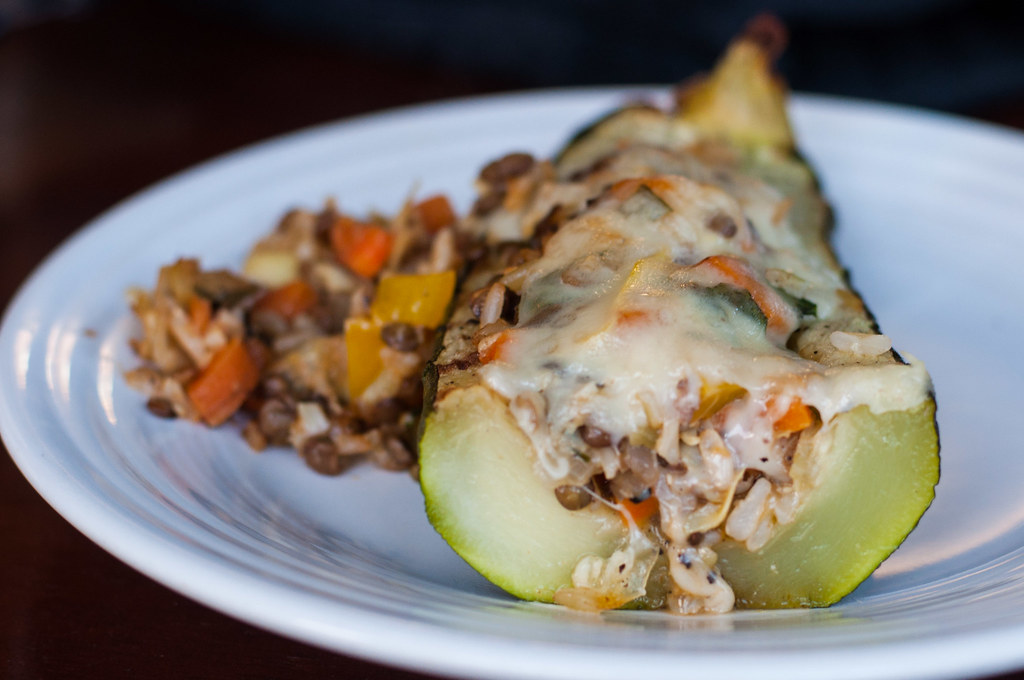Stuffed zucchini cross section