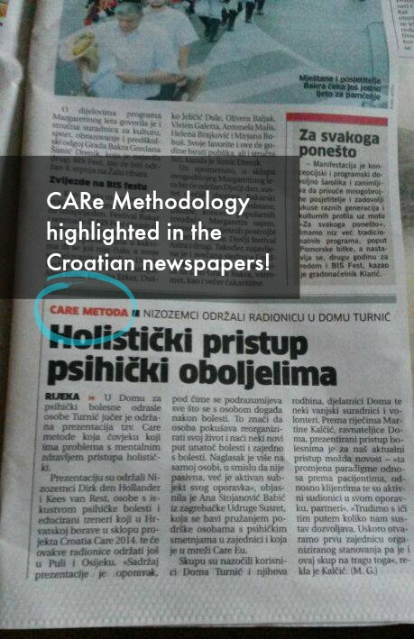 Croatian Newspapers about CARe Methodology