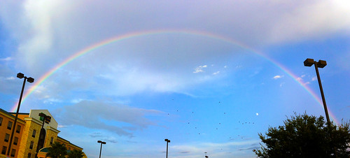 Full arc rainbow over Katy Texas