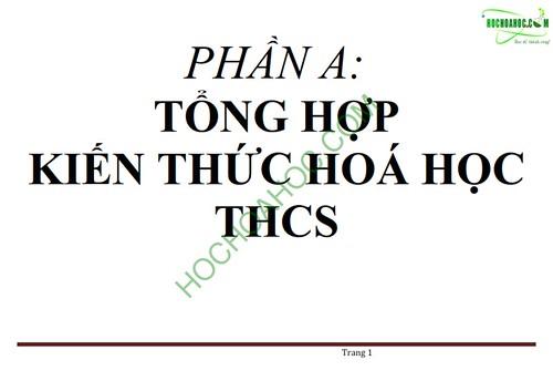 Tổng hợp kiến thức Hóa học lớp 8+9 THCS