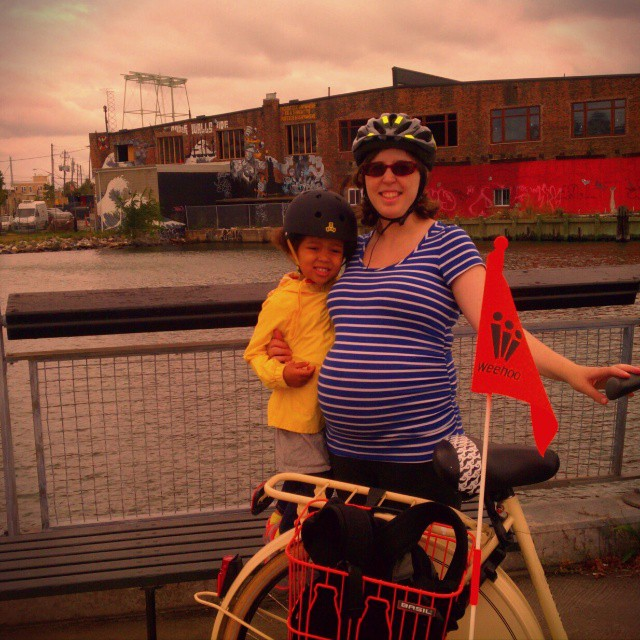 Took our first family bike ride in a year (since Z outgrew her old bike seat) - I got a used Dutch Gazelle bike and we got Z a Weehoo trailer bike to attach to @whatmashekadid 's bike.
