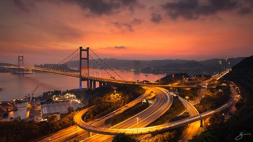 bridge sunset red sea sky canon landscape hongkong 香港 afterglow tsingyi 青馬 青衣 5dmarkii