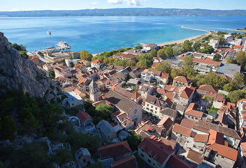 red sea river coast rooftops croatia gorge fortress adriatic dalmatia omis dalmatiancoast rivercetina mirabelafortress