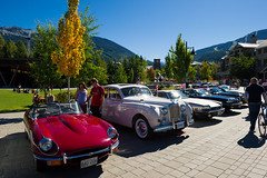 All British Sea to Sky Rally cars on display at Whistler Olympic Plaza