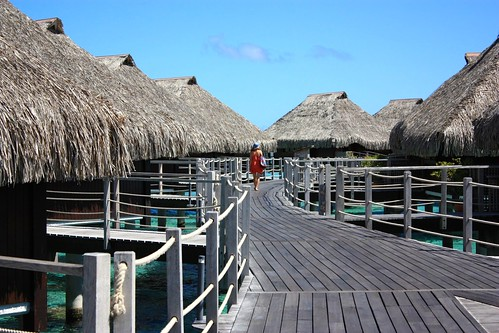 Lina walking down the deck at Hilton Moorea