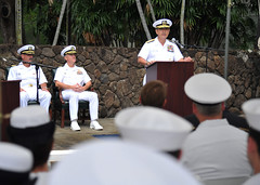 Adm. Harry Harris Jr., commander of U.S. Pacific Fleet, addresses the audience during a ceremony at fleet headquarters to commemorate the 72nd anniversary of the Battle of Midway. (U.S. Navy/MC1 David Kolmel)