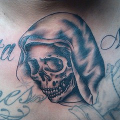 Santa Muerte I did a few days ago. #tattoos #dc #bobbyrotten #skull #custom