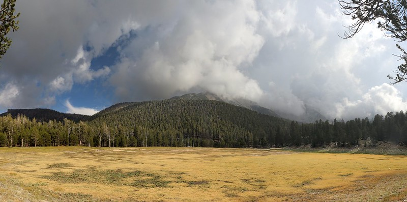 Panorama shot of Dry Lake and storm clouds rising above San Gorgonio Mountain and Jepson Peak