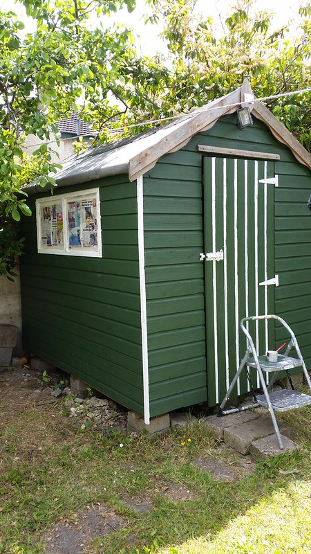 Chic Shed - adding the white trim