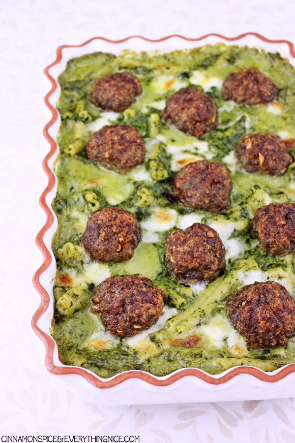 Baked Meatballs w/ Pasta in Parmesan Spinach Sauce