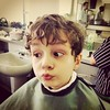 Another great face from Sam getting his haircut.
