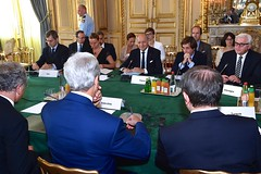 U.S. Secretary of State John Kerry joins French Foreign Minister Laurent Fabius and his counterparts from Germany, Italy, Qatar, Turkey, and the United Kingdom at the Quai d'Orsay in Paris, France, on July 26, 2014, at the outset of a group meeting about a cease-fire in the fighting between Israel and Hamas in the Gaza Strip. [State Department photo/ Public Domain]