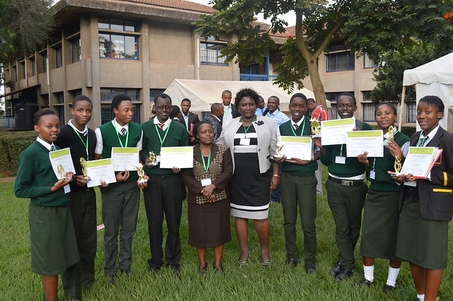 Dr. Edwardina (centre) and to her right, Mrs. Purity Nyaga from Hospital Hill with the students