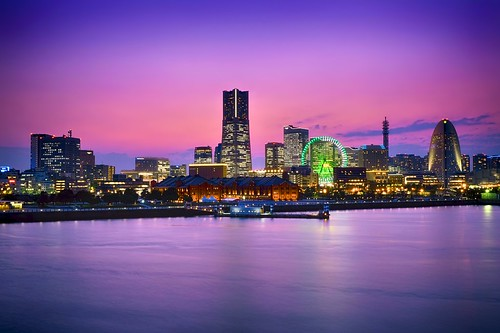 longexposure travel sunset sea vacation sky colors wheel japan night lights twilight asia cityscape clear fujifilm yokohama minato landmarktower xt1