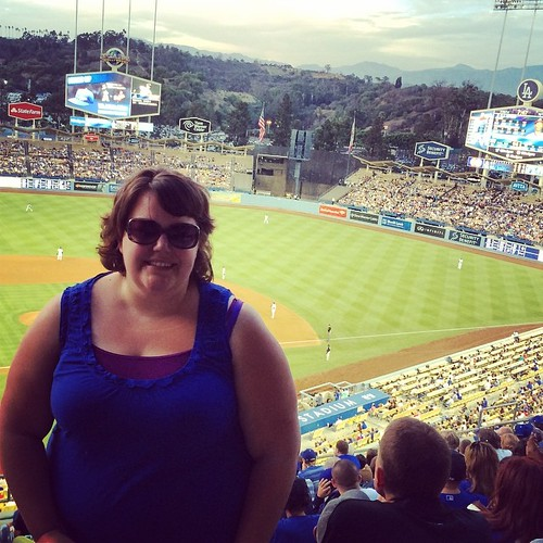 I don't know what's wrong with my face in this photo, but I'm wearing my Dodger blue!! #ladodgers #losangeles #mlb #baseball #dodgerstadium #kategoestocalifornia