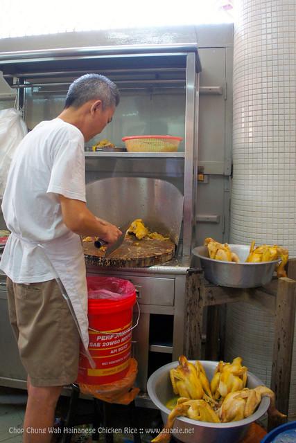Chop Chung Wah Hainanese Chicken Rice, Melaka - preparing village chicken