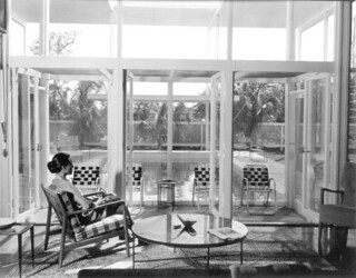 """View of the swimming pool at Sommers """"slat"""" home - Sarasota"""