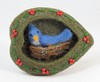 Bluebird on Nest Needle Felted Hollow Brooch