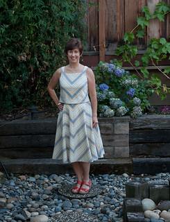 V1397 bias stripe top and skirt as worn