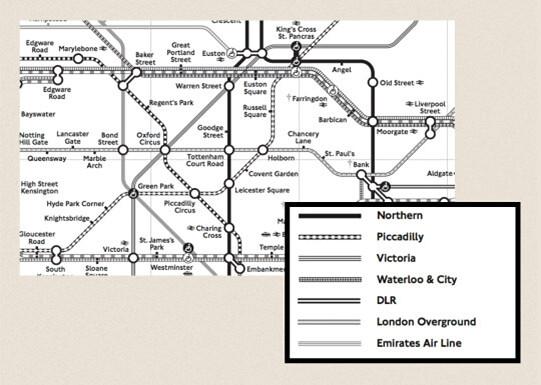 각기 다른 패턴의 선을 사용한 런던 지하철 노선도 이미지