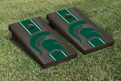 Michigan State Spartans Cornhole Game Set Onyx Stained Stripe