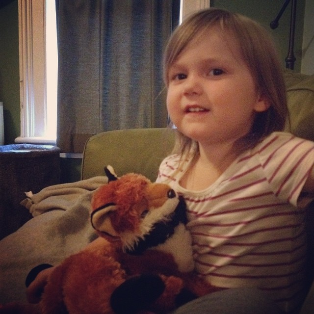 "Hanging out with ""Mr. Doggie the Fox"" (that's his full name, according to M)"
