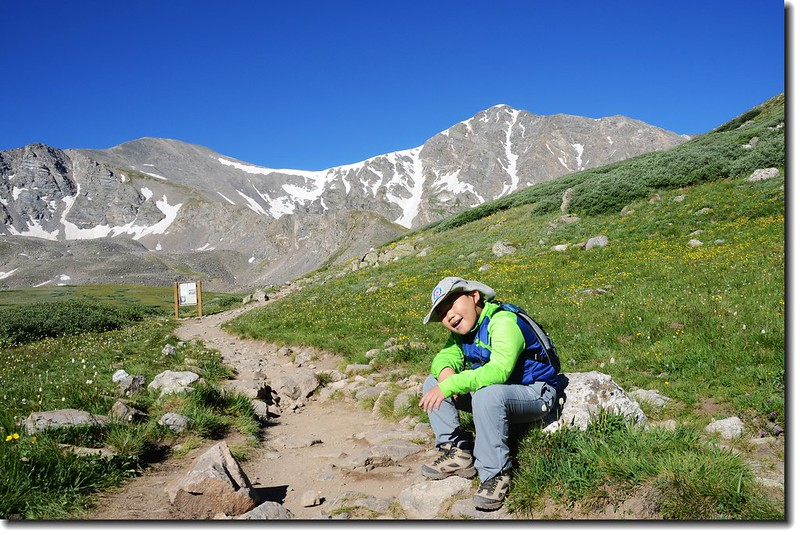 Jacob is taking a break at the base of Grays Peak 1