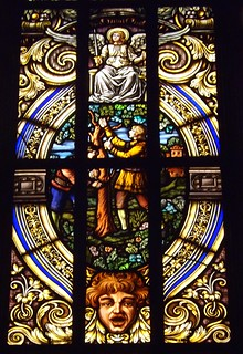 Detail, Stained Glass Window: Adam Strohm Hall, Main Branch, Detroit Public Library
