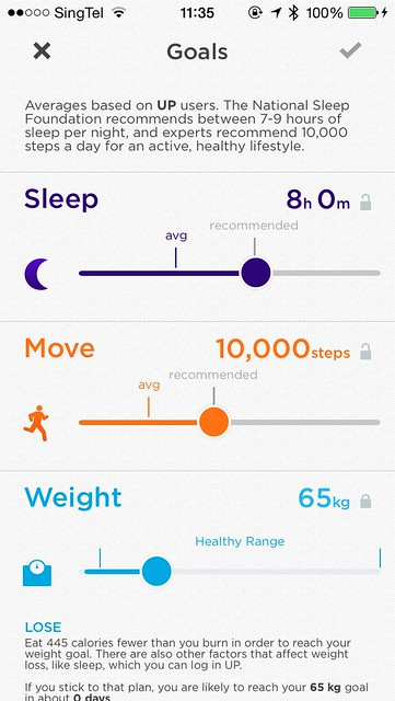 Jawbone UP iOS App - Goals